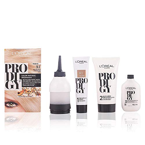 LOreal Paris Prodigy Coloracion Permanente - Tinte, color 9.1-oro blanco 4 pz, 200 gr
