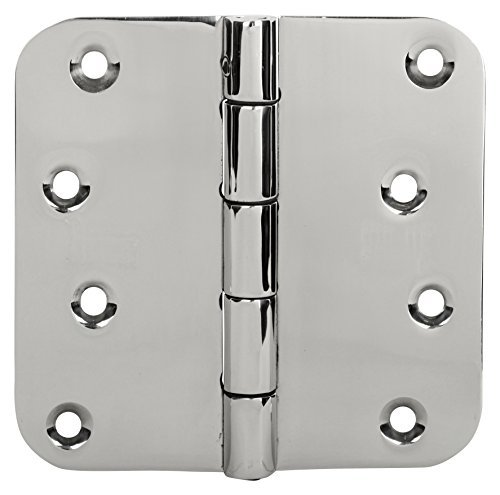 (Security Door Hinges Stainless Steel Removable Pin 4''X 4'' Mirror Polished 32 5/8 Radius 3 Pcs Hinges 24 Screws Reversible Interior Exterior in-Swing & Out-Swing Door ssiskcon)