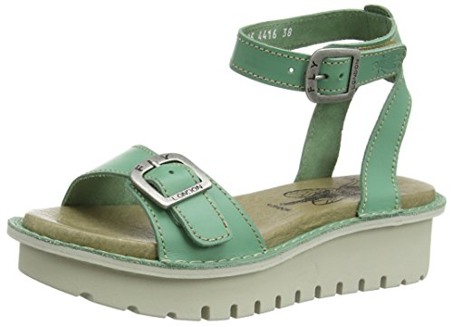 Fly London P801457002, Sandali con Zeppa Donna Verde (Mint 005)