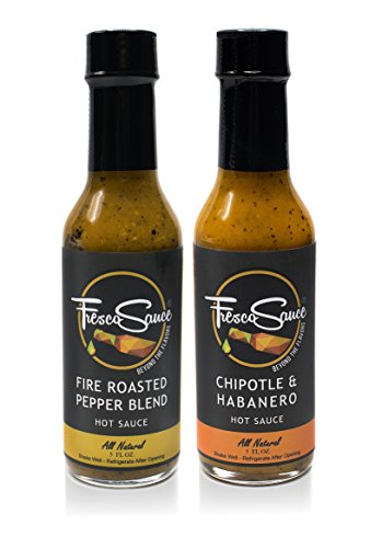 Fresco Sauce - Combo Pack - Fire Roasted Pepper Blend - Chipotle & Habanero - Flavorful Hot Sauces - All Natural - Extract Free - Gluten Free - 5 fl oz by Fresco Sauce
