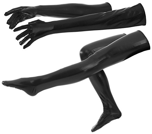 ATHX Women's Black Shiny Metallic Wet Look Tight Gloves & Stockings Suits Costumes (Adults Large, (80's Couples Halloween Costume)