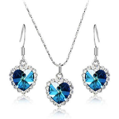 Lvxuan Italina Rigant Top Quality Austrian Crystal Heart 18k Real Gold Plated Jewelry Set Crystal ()