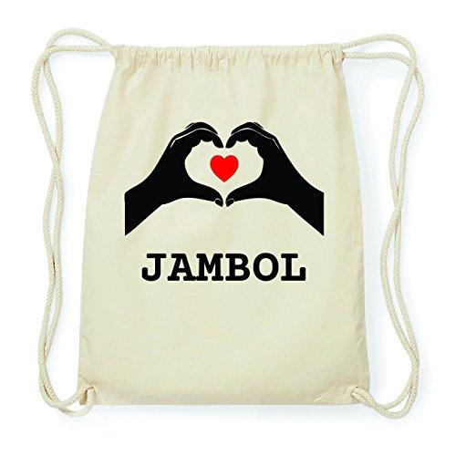 JOllify JAMBOL Hipster Turnbeutel Tasche Rucksack aus Baumwolle - Farbe: natur Design: Hände Herz