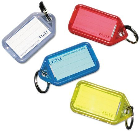 SecurIT 04993 Extra Color-Coded Key Tags for Key Tag Rack, 1-1/8 x 2-1/4, Assorted, 4/Pack by Securit
