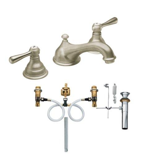 Moen T6105BN-9000 Kingsley Two-Handle Low Arc Bathroom Faucet with Valve, Brushed Nickel