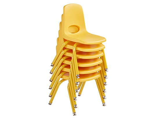 ECR4Kids 12'' School Stack Chair with Powder Coated Legs and Nylon Swivel Glides, Yellow (6-Pack) by ECR4Kids (Image #5)'