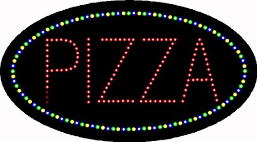 HIDLY LED Pizza Open Light Sign Super Bright Electric Advertising Display Board for Business Shop Store Window Bedroom 19 x 10 inches (Oval)