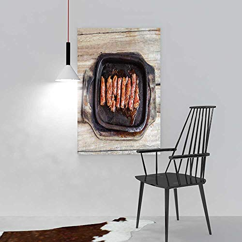 aolankaili Modern Wall Art Decor Frameless Grilled Beef Tenderloin Steak in a hot pan on an Old for Home Print Decor for Living Room W16 x H24