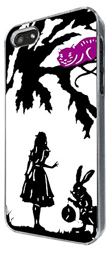 633 - Alice in Wonderland cheshire cat and rabbit Design iphone 5 5S Coque Fashion Trend Case Coque Protection Cover plastique et métal
