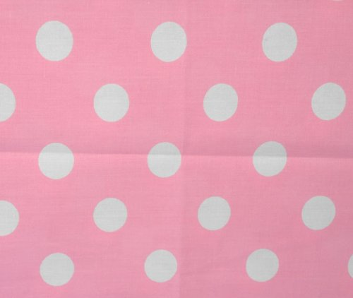 Big Polka Dot Poly Cotton White Dots on Pink 58 Inch Fabric By the Yard - Pink Polka Fabric Dot White
