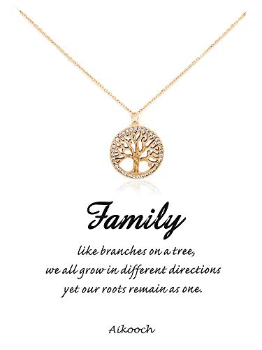 Family Tree Pin - Aikooch Family Tree of Life Pendant Necklace with Message Card Necklace Golden