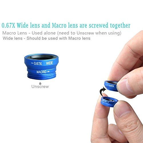 delicate Trolax(TM) 3 In 1 Mobile Phone Macro Fish Eye Lens Universal Wide Camera Lenses for iPhone 4 4S 5 5C 5S 6 Plus Samsung Galaxy S3 S5 CL318 [ blue ]