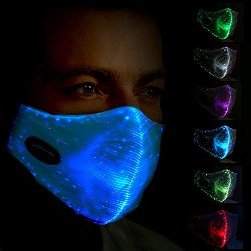 (SAFEBAO LED Flashing Mask 7 Colors Luminous Light for Men Women Rave Mask Music Party Christmas Halloween Light Up Mask)