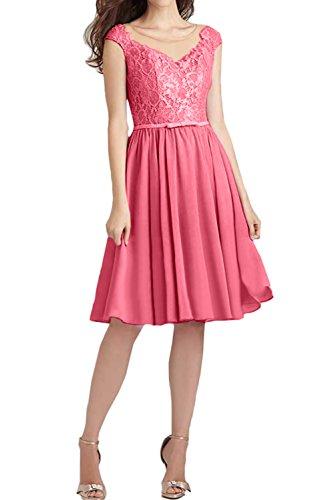 Brautjungfernkleider Ballkleid Kurz Spitze Damen Abendkleider Ivydressing Wassermelone Festlich wYOTy8
