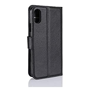 Iphone Xs Max Case,Litchi Skin leather 1 Business Wallet Flip 1 card holder Stand Shell Magnetic Folio Case Bumper Premium anti fall shockproof protective sleeve screen protector