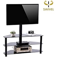 Rfiver Black Corner Floor TV Stand with Swivel Mount Bracket for for 32 to 65 inch TVs, 3-Tier Tempered Glass Shelves for Audio Video TW2002