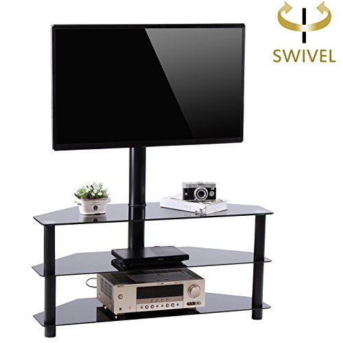 - Rfiver Black Corner Floor TV Stand with Swivel Mount Bracket for for 32 to 65 inch TVs, 3-Tier Tempered Glass Shelves for Audio Video TW2002