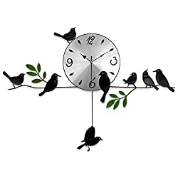 Home Decorative Metal Bird Swing Pendulum Wall Clock With Green Leaf For Living Room,Office,Bar,Kitchen
