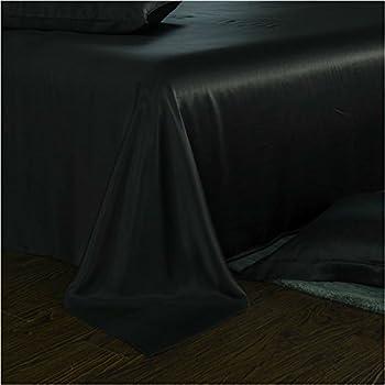 Luxury Silk Sheets, 100% Mulberry Silk Bedding Set 25 Momme Queen King White Black Plum (King, Black)