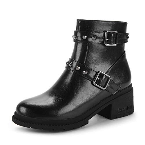 A Da scarpe Scuola inverno Donna Quadrata Black nbsp;martin Oversize Stivali Con Testa Vento 1qAfaaw