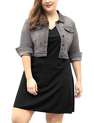 uxcell Women's Plus Size Button Closed Cropped Denim Jacket Gray ()