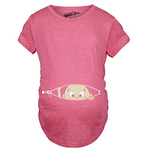 Crazy Dog T-Shirts Maternity Baby Peeking T Shirt Funny Pregnancy Tee For Expecting Mothers (Pink) - (Pregnant Maternity Tee)