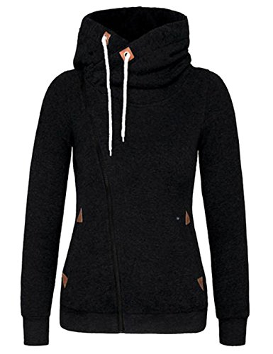 Damen Hoodies Pullover Langarm Casual Jacke Top Winter Sweatshirt Pullover Tops Jumper (L, Schwarz)