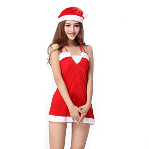 Besde Women Sexy Santa Christmas Costume Fancy Dress Xmas Office Party Outfit (Red)