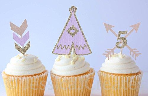 Boho Cupcake Toppers - Boho Theme Party - TeePee Cupcake Toppers - Arrow Cupcake Toppers - Aztec Party