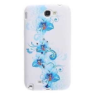 Blue Flower Pattern Soft Case with Rhinestone for Samsung Galaxy Note 2 N7100