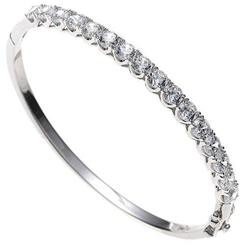 Les bracelets bracelet jonc argent 925 et zircone blanc pour femme fixation ovale