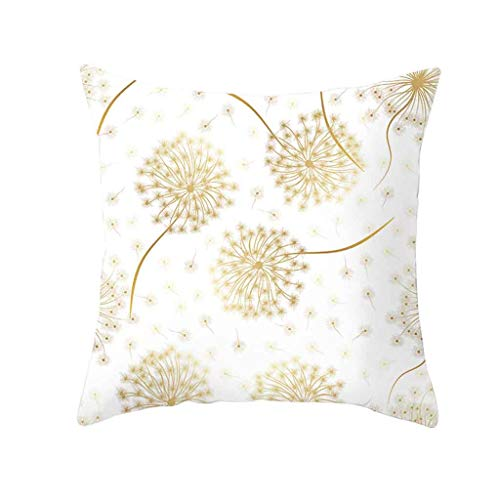 ALLYOUNG Gold Plant Printed Polyester Pillow Case Cover Sofa Cushion Cover Home Decor