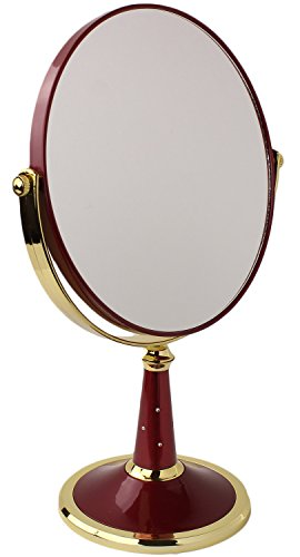 Two-Sided Round Tabletop Vanity Makeup Mirror with 3X Magnification by bogo Brands (Red)