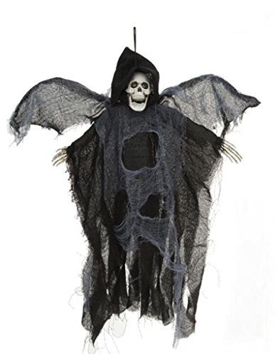 Halloween Decor Animated Flying-Winged Skeleton Reaper 18 inch Black by Mark (Animated Flying Winged Reaper)