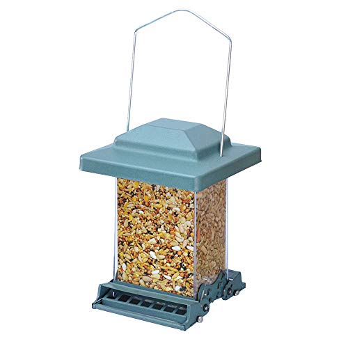 Myard MBF 75160-G Double Sided Squirrel Proof Bird Feeder w/Weight Adjustable + Extendable Perch, 3.6qt / 6lb up Seed Capacity (Green)