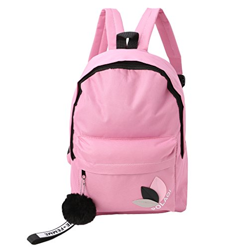 Lamdoo Mochila Moda Mujer Lona Bolsas de Viaje Escolar Bolsas para Niñas Adolescentes Negro, Lona, Rosa, 28x12x39cm/11.02x4.72x15.35(Approx) Rosa