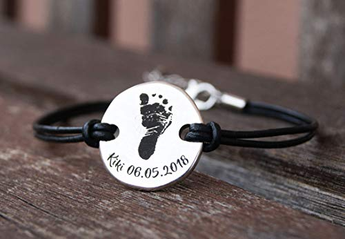 Personalized Leather Bracelet for Women Baby Footprin Date Name Engraved Custom Gift for Mom Memorial Sympathy Child Loss Newborn (Words Of Sympathy For Loss Of Newborn Baby)