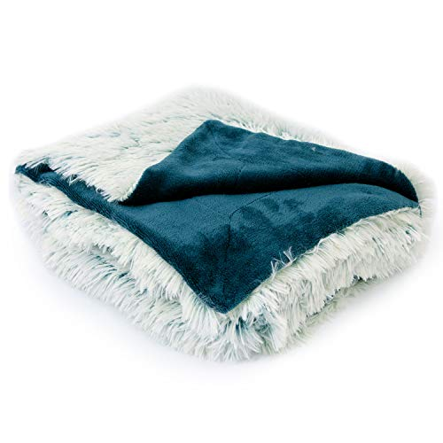 Cheer Collection Reversible Throw Blanket | Long Shaggy Hair Faux Fur Accent Throw - 50