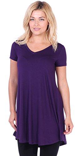 Popana Women's Tunic Tops for Leggings Short Sleeve Summer Shirt Made in USA 3X Eggplant