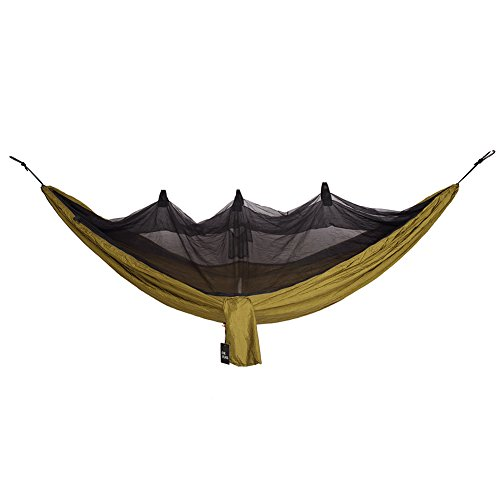 OneTigris Camping Hammock Outdoor Hanging Bed with Mosquito Net Portable Lightweight (Coyote Brown)
