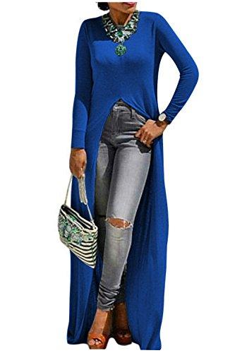 Aifer Women Sexy Long Sleeve Open Front Split Maxi Dress Tunic (Knot Top Dress)
