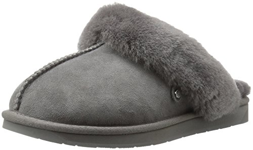 206 Collective Women's Roosevelt Shearling Slide Slipper Shoe, Gray, 9 B US