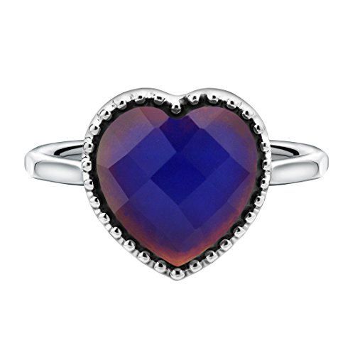 White Without Stones Ring (Color Changing Mood Ring Heart Shaped Imitation White Gold Plated Thermochromic Liquid Crystal Ring(without Glitter Powder) (8.5))