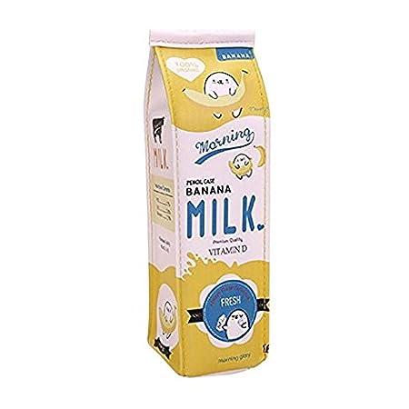 Doitsa Bolso de Lápiz Caja de lápices Simulación de caja de leche Dibujos animados Caja de papelería Maquillaje del Bolso Moda linda Gran capacidad Estudiantes (Azul)