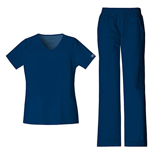 Cherokee Women's Workwear Core Stretch V-Neck Top 4727 & Mid Rise Pull On Cargo Pant 4005 Scrub Set (Navy - X-Large/Large)