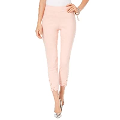Thalia Sodi Lattice-Hem Capri Pants in Coral Cielo (X-Large) at Women's Clothing store