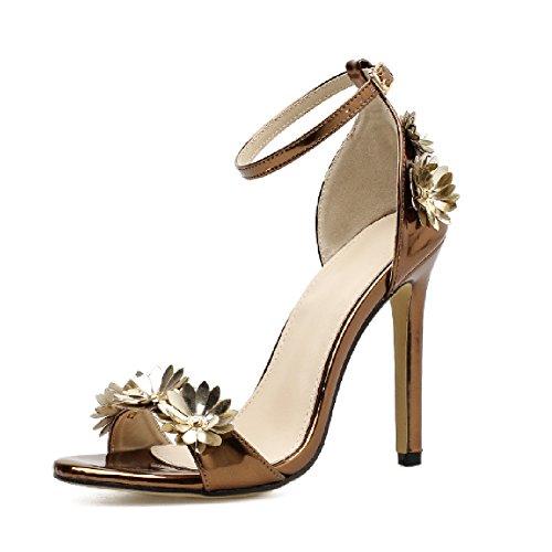 Women's Unique Bronze High Heel Sandals/Sexy Open Toe Ankle Strap Pumps/Dress Shoes for Ladies