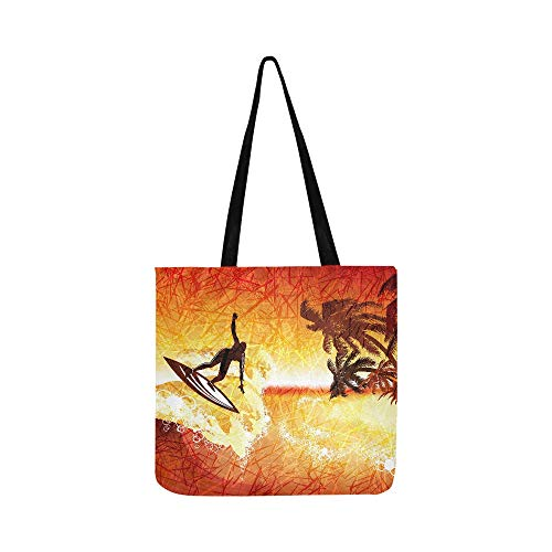 Illustration Of Tropical Sea Surfer And Palms At Canvas Tote Handbag Shoulder Bag Crossbody Bags Purses For Men And Women Shopping Tote ()