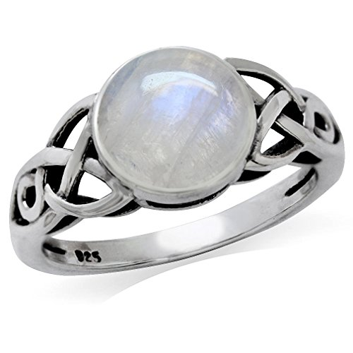 8MM Natural Round Shape Moonstone 925 Sterling Silver Triquetra Celtic Knot Solitaire Ring Size 12.5 ()