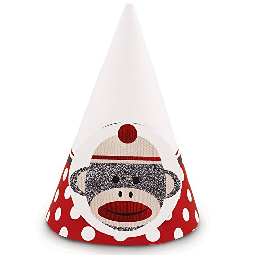 Sock Monkey Party Supplies - Cone Hats (8) - Sock Puppet Costume Monkey